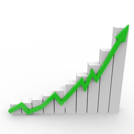 ingresos: Negocios gr�fico con subir flecha verde