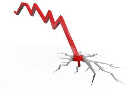 derrumbe: La flecha roja rompiendo el piso. El concepto de quiebra, colapso financiero, la depresión, el fracaso, la crisis de dinero.