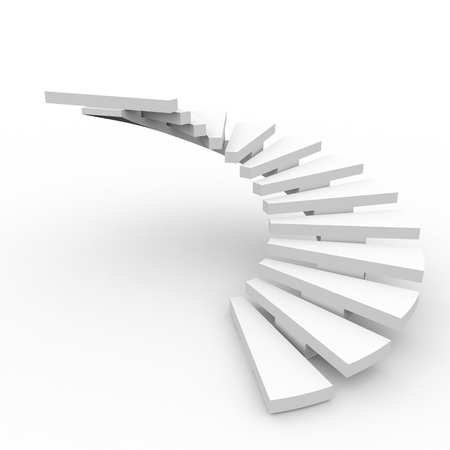 step up: Spiral staircase. Computer generated image. Stock Photo