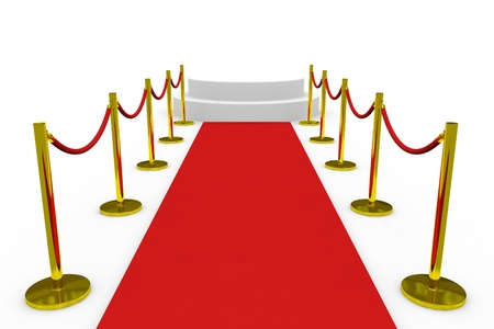 velvet rope: Staircase with red carpet on white background. Computer generated image.