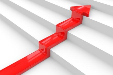 La flèche rouge sur l'escalier. Le concept de réussite. Image générée par ordinateur. Banque d'images - 11818165