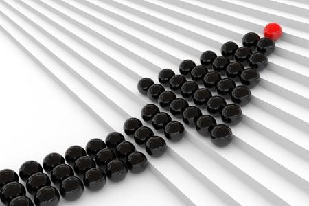 Sphères dans l'escalier. Concept de leadership. Image générée par ordinateur. Banque d'images - 11818195