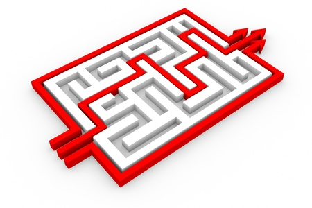 Red arrows going through the maze. Path across labyrinth. Computer generated image.