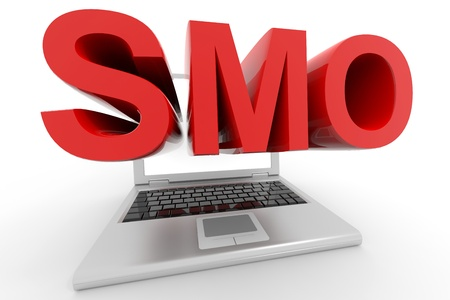 optimized: Laptop with a word SMO on a screen.Isolated on white background. Computer generated image.