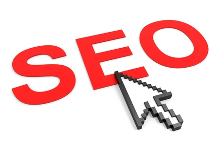 Search Engine Optimization and arrow cursor. SEO concept. Computer generated image. Stock Photo - 11818105