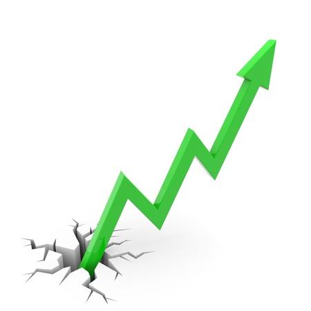 緑の矢印は、ひびの入った地面から出てくる。成功ビジネスの比喩。コンピューター生成イメージ。