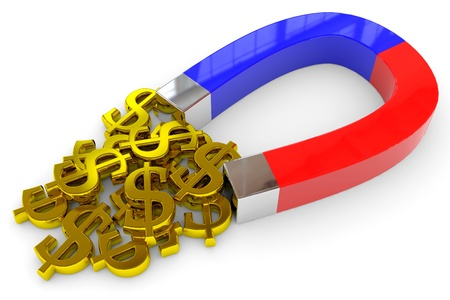 strong magnetic field: Horseshoe two color magnet attracts gold dollar signs. Computer generated image. Stock Photo