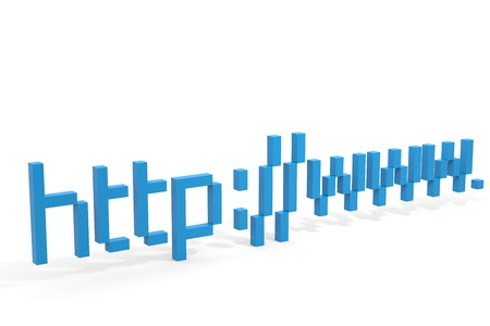 http  www: Blue 3d address http www. Internet connection concept. Computer generated image.