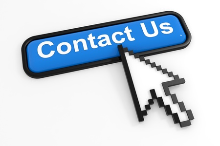 client service: Blue button CONTACT US with arrow cursor. Computer generated image.