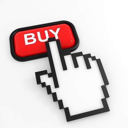 buy button: Red button BUY with hand cursor. Computer generated image. Stock Photo