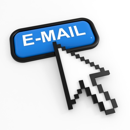 Blue button E-MAIL with arrow cursor. Computer generated image.