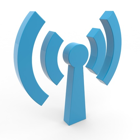 wireless hot spot: Abstract Wi-fi antenna on white background. Computer generated image.