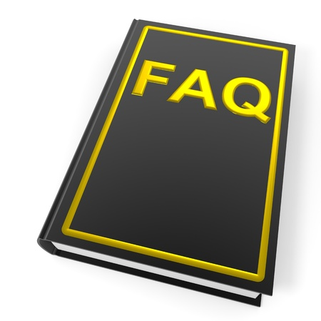 Black book with golden word FAQ. Computer generated image. photo