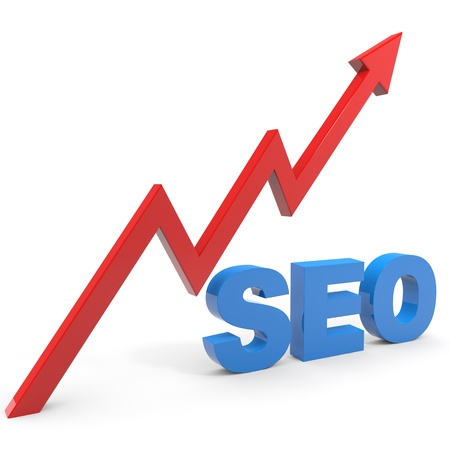 website traffic: SEO sign with graph isolated on white. Computer generated image.