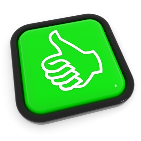 Thumbs up gesture green button. Computer generated image. photo