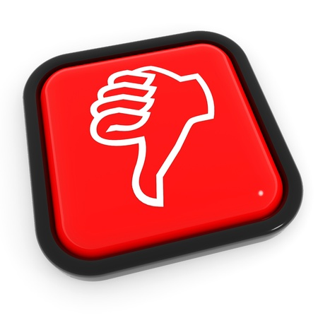 thumbs down: Thumbs down gesture red button. Computer generated image.