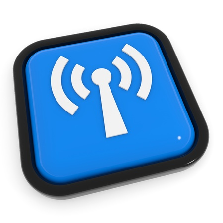 Blue button with WiFi antenna. Computer generated image. Stock Photo - 11818147