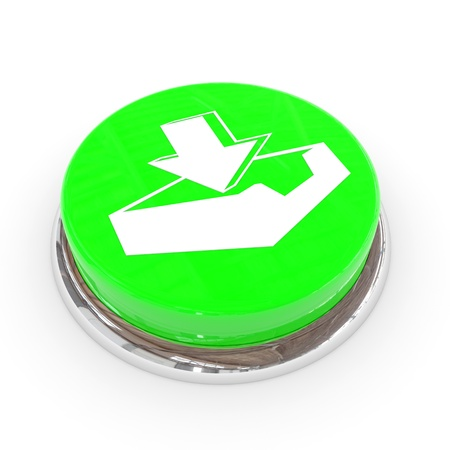 Green round button with download sign. Computer generated image. photo
