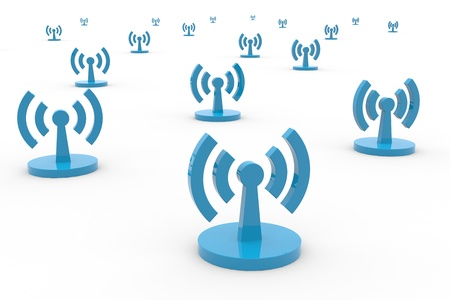 白い背景の上の抽象的なの Wi-fi のアンテナ。コンピューター生成イメージ。