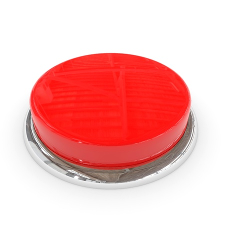 Red round blank 3d button with chrome ring. Computer generated image. Stock Photo - 11818157