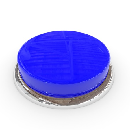 Blue round blank 3d button with chrome ring. Computer generated image. photo
