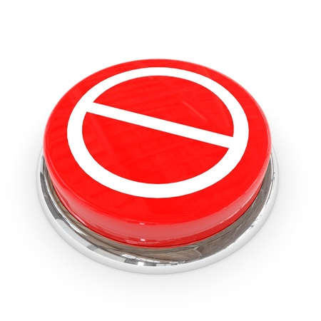 Red round button with not allowed sign. Computer generated image. photo