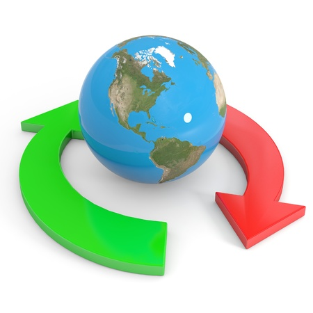 Recycle symbol around earth. Global economy. Computer generated image. photo