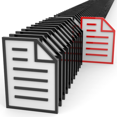 Row of documents sign. Information searching concept. Computer generated image.