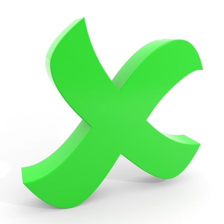 cross mark: Green cross mark on white background. Computer generated image.