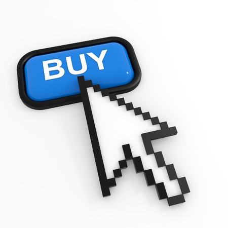 Blue button BUY with arrow cursor. Computer generated image. Stock Photo - 12555395