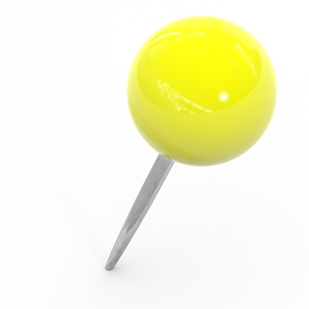 memo pad: Yellow pushpin on a white background. Computer generated image.