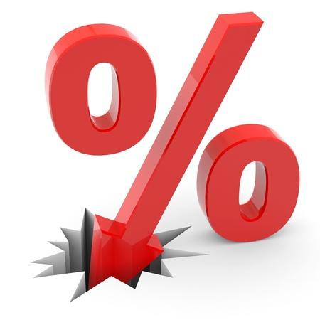 Discount percent sign breaking floor. Computer generated image.