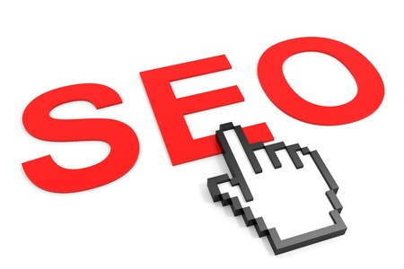 Search Engine Optimization and hand cursor. SEO concept. Computer generated image. Stock Photo - 12555366