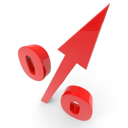 Red percentage symbol with an arrow up. Computer generated image.