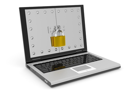 Abstract laptop safe with lock. Computer security concept. Computer generated image. photo