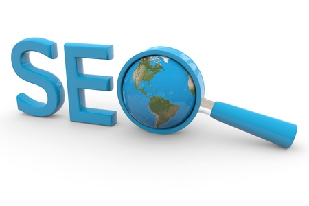 finding: Blue word SEO with 3D globe and magnifying glass replacing letter O. Computer generated image.