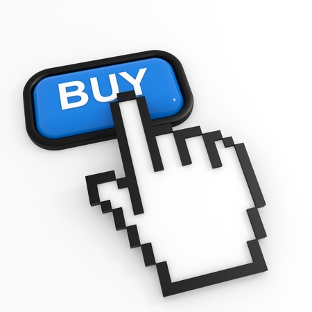 Blue button BUY with hand cursor. Computer generated image. photo