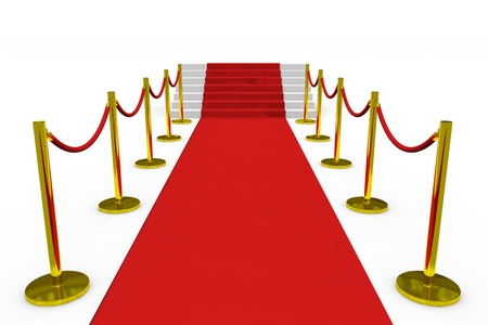 Staircase with red carpet on white background. Computer generated image. photo