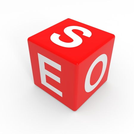 Red SEO cube. Computer generated image. Stock Photo - 12555402