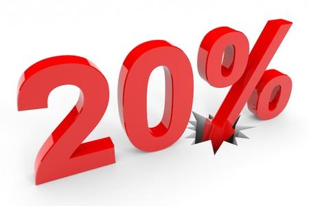 20 percent discount breaking floor. Computer generated image. Stock Photo - 12555394