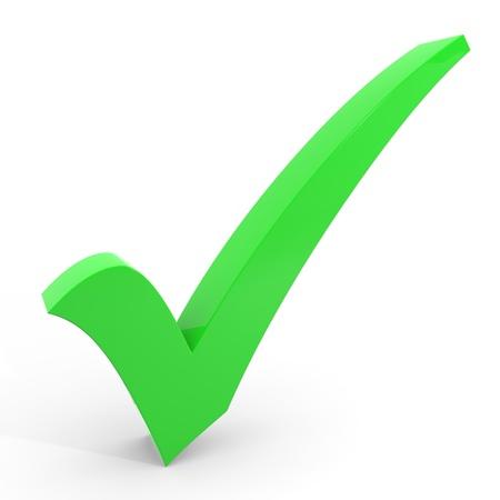 白い背景の上の 3 D 緑のチェック マーク。コンピューター生成イメージ。 写真素材