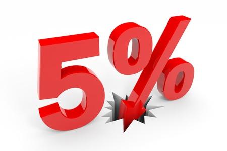 5 percent discount breaking floor. Computer generated image. photo