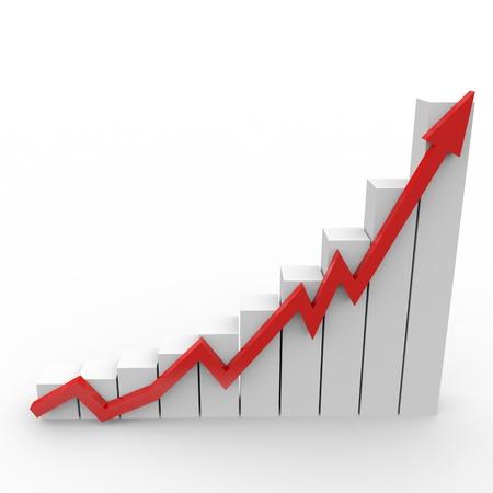verhogen: Business grafiek met een naar boven rode pijl Stockfoto