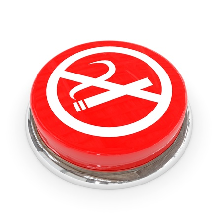 Red round button with white NO SMOKING sign. Computer generated image. photo