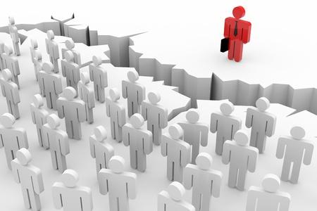 desigualdad: Las personas 3d, el l�der y la tierra agrietada. Desigualdad. Imagen generada por ordenador.