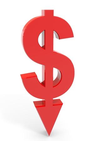 freccia giù: Dollaro, segno rosso con freccia verso il basso. Concetto di fallimento, crollo finanziario, depressione, fallimento, crisi monetaria. Computer generato immagine. Archivio Fotografico