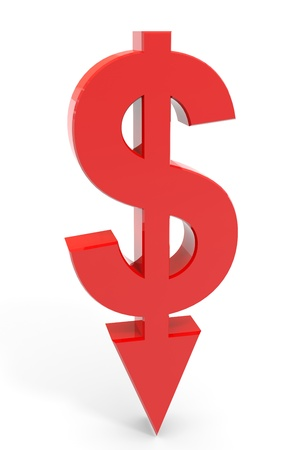 Red dollar sign with arrow down. Concept bankruptcy, financial collapse, depression, failure, money crisis. Computer generated image.