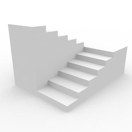 White staircase isolated on white background. Computer generated image.