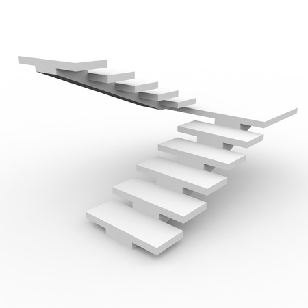 high way: White staircase isolated on white background. Computer generated image.