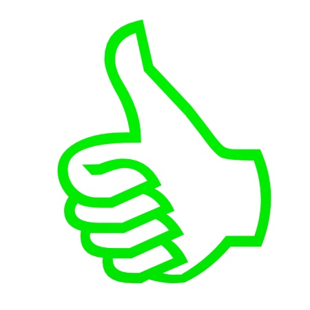 Green thumbs up on white. Computer generated image. Stock Photo